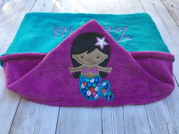Mermaid Hooded Baby Towel Toddler Hooded Towel Mermaid Beach