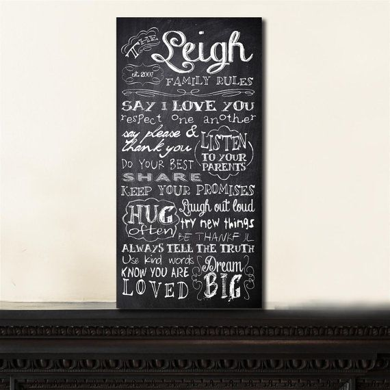 Personalized Family Rules Custom Chalkboard by InvitingMoments ...