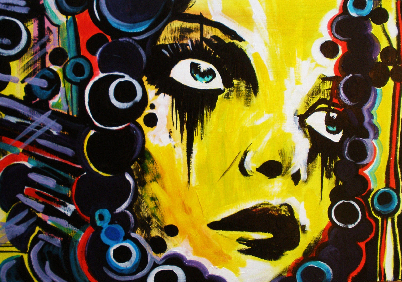 girls portrait, yellow street art on board | Graffiti Wall ...