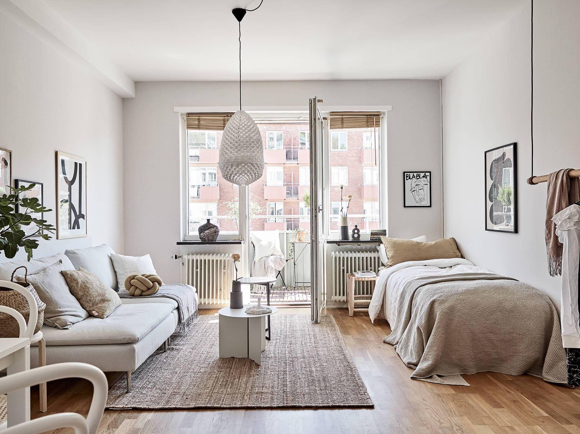 Small Studio Space In A Warm Color Palette Apartment Interior