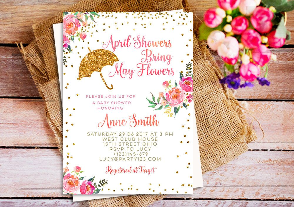April Showers Bring May Flowers Baby Shower Invitation Printable ...