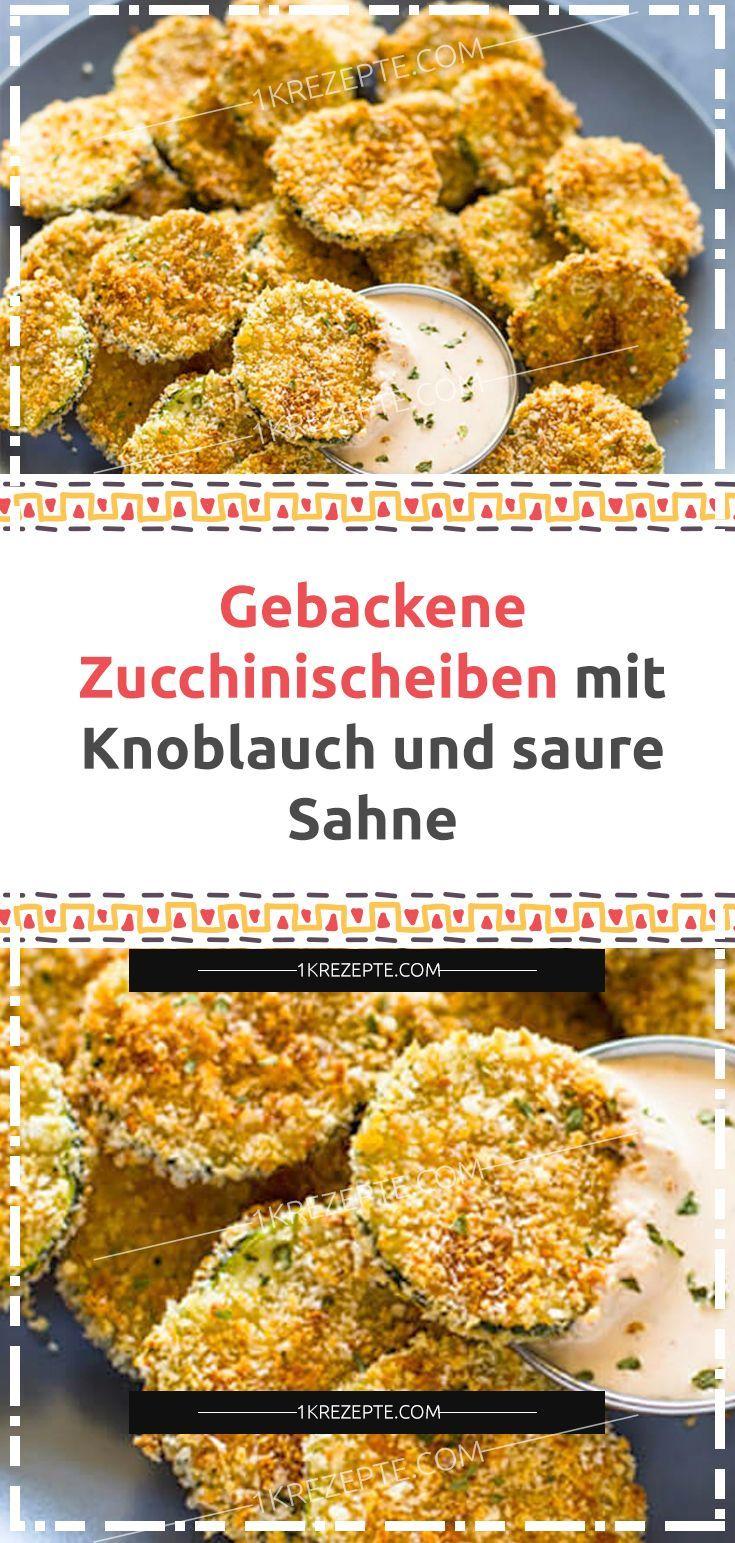 Gebackene Zucchinischeiben mit Knoblauch und saure Sahne #glutenfreierezepte