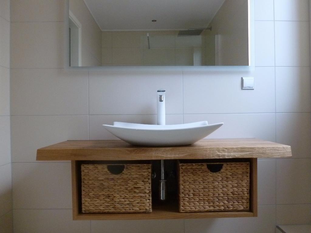 Waschtisch Platte Brett Konsole Baumkante Massiv Holz Eiche Mass In