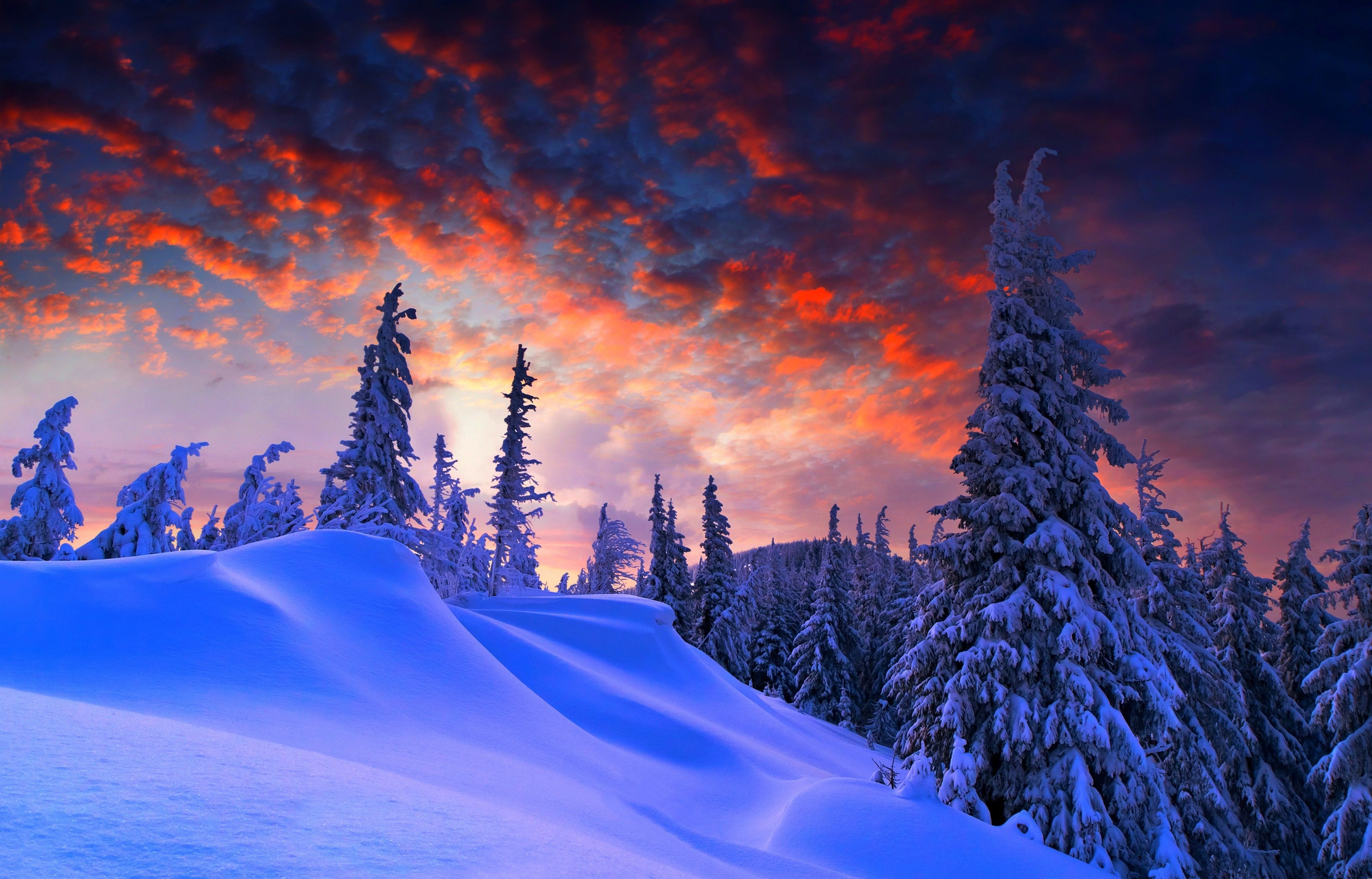 3840x2460 Winter 4k Desktop Wallpaper Hd Winter Wallpaper Winter Sunset Winter Desktop Background