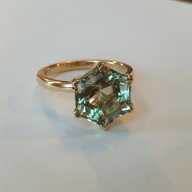 """""""New #prasiolite #ring #beautiful and simple cut! #yellowgold #gold #lovegold #FutureHeirlooms #suzannefelsen #suzannefelsenjewelry @lovegoldlive"""""""