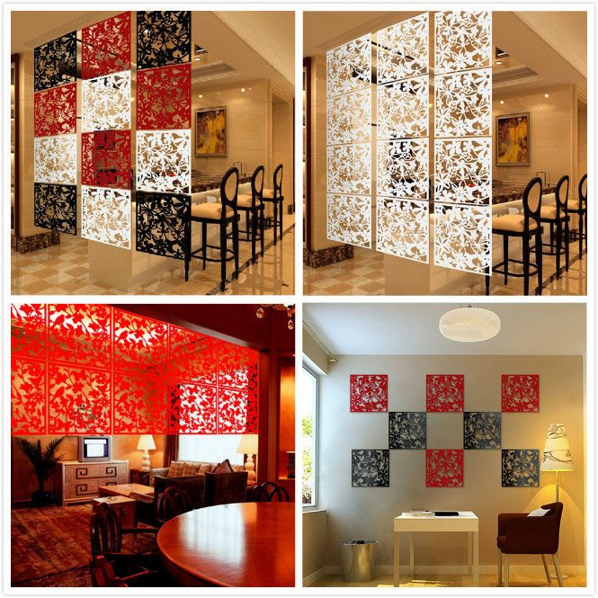 4Pc Plastic Hanging Screen Partition Room Divider Wall Sticker