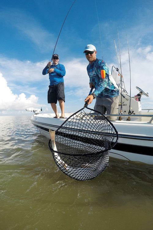 Netting Redfish From Boat Using Popping Cork Inshore