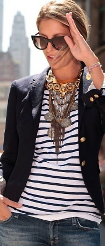 White striped shirt, black blazer/jacket, jeans, statement necklace. DONE :) I have copied.
