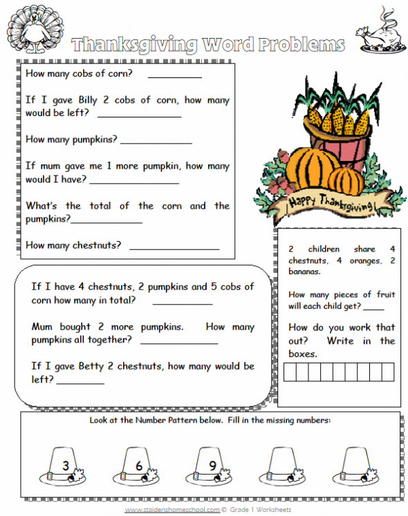 Free Grade 1 ThanksgivingThemed Math Worksheets