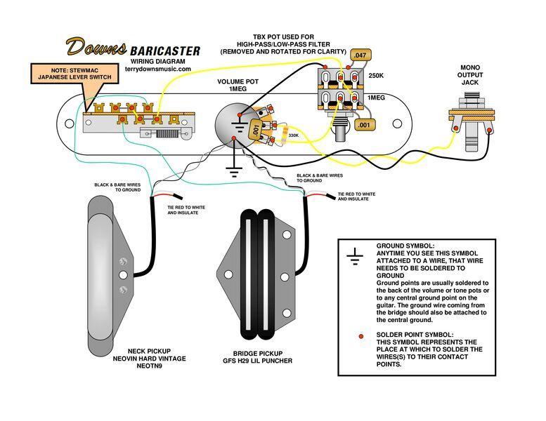 baritone_wiring_diagrampdf Guitar/Bass/Strings Pinterest