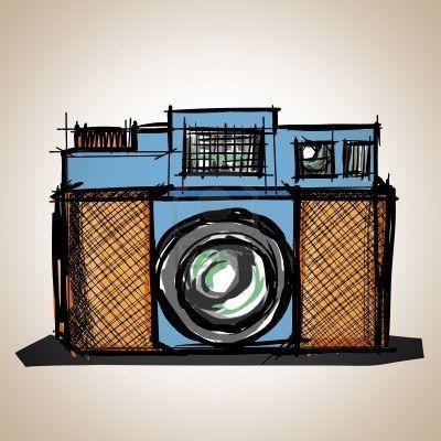 Camera toy vintage, illustration