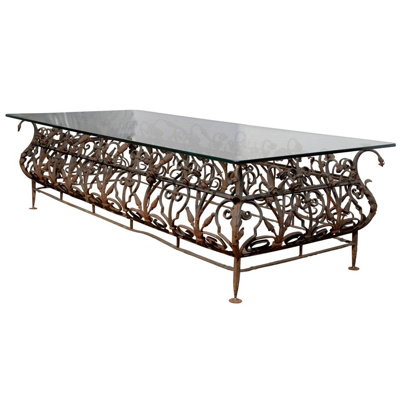 Austrian Mid 19th Century Large Size Wrought Iron And Glass Top Coffee Table Glass Top Coffee Table Coffee Table Wrought Iron Glass [ 1280 x 1280 Pixel ]