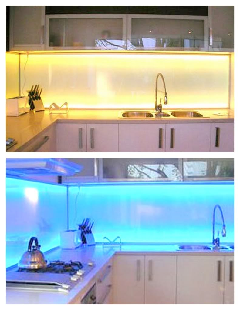 This backsplash above demonstrates how it can be back-lit with LED ...