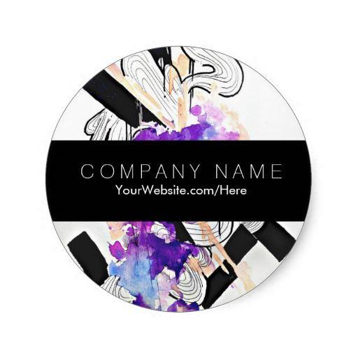 Chic trendy watercolor art elegant business round sticker