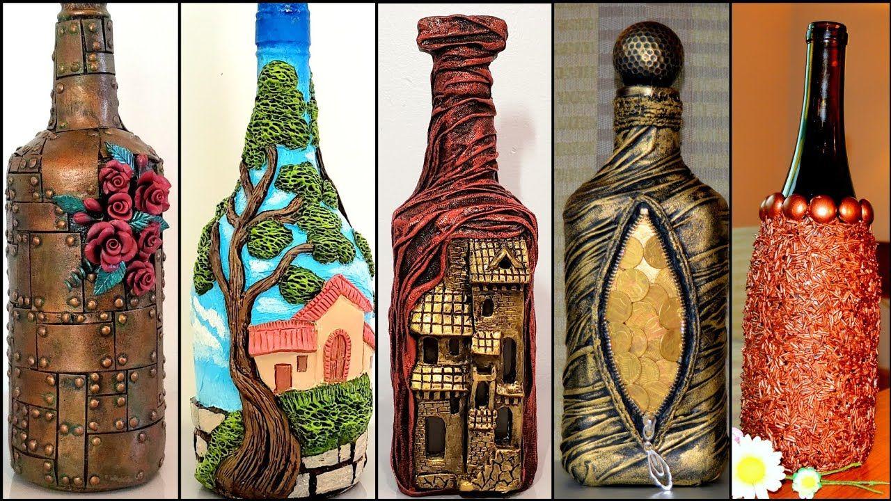 5 Bottle Art Ideas Bottle Decoration Wine Bottle Craft Art And Craft Youtube In 2020 Bottles Decoration Bottle Crafts Wine Bottle Crafts