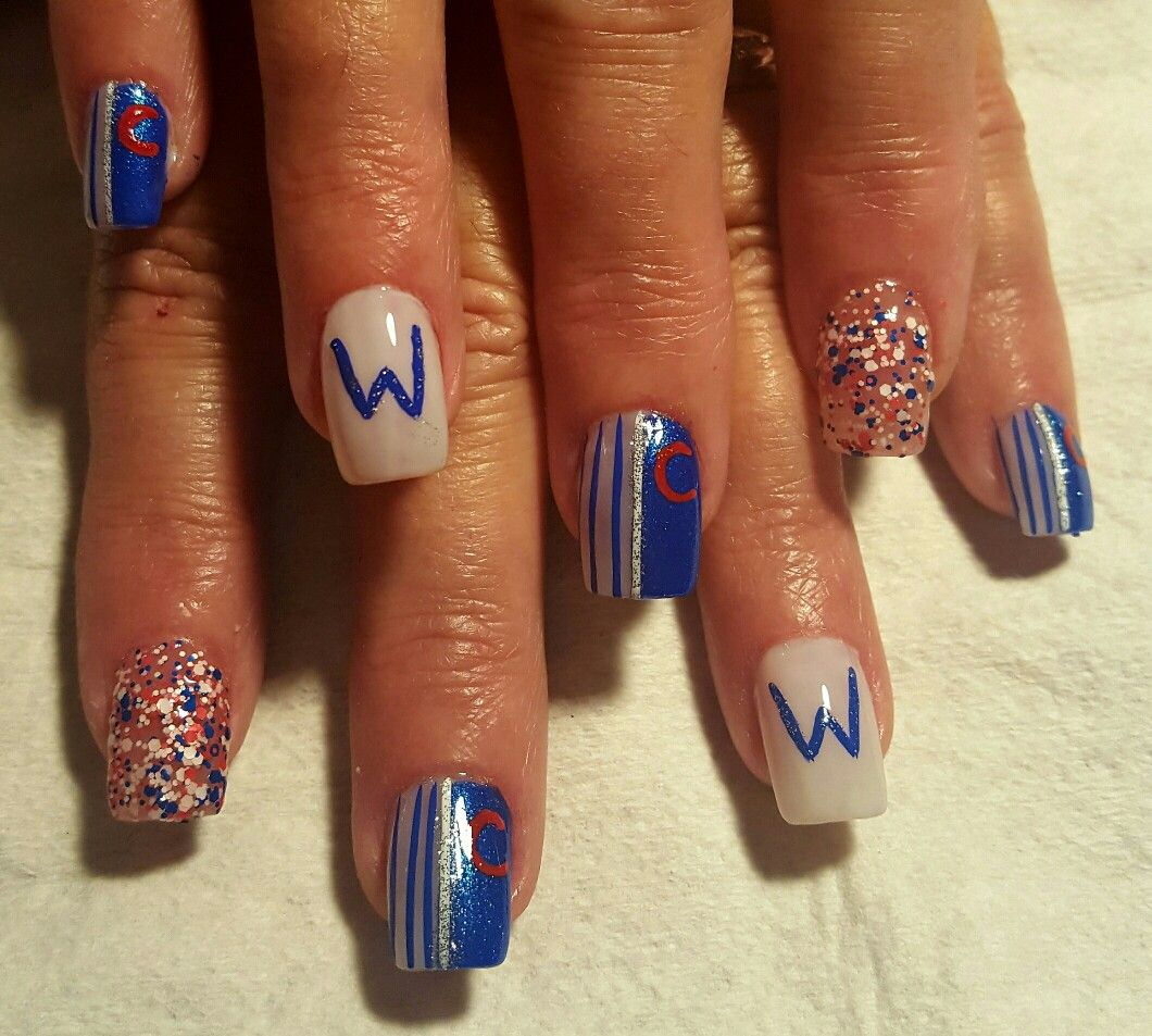 Chicago Cubs Nails Becky. In 2019 Baseball Nail Art Fan