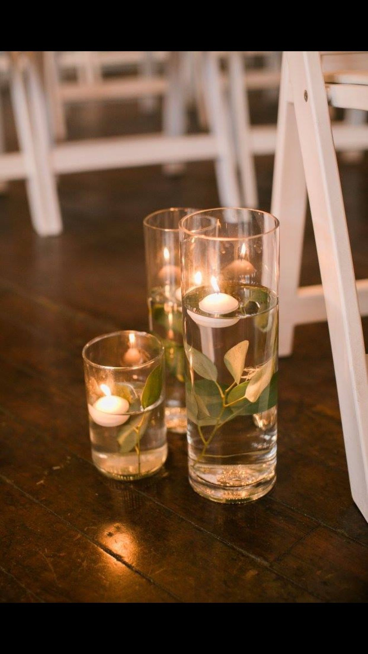 Submerged Eucalyptus Floating Candles Down The Aisle The Flour