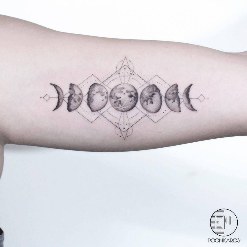 Moon Phases Tattoo On The Left Inner Arm Moon Phases Tattoo Cosmic Tattoo Moon Cycle Tattoo