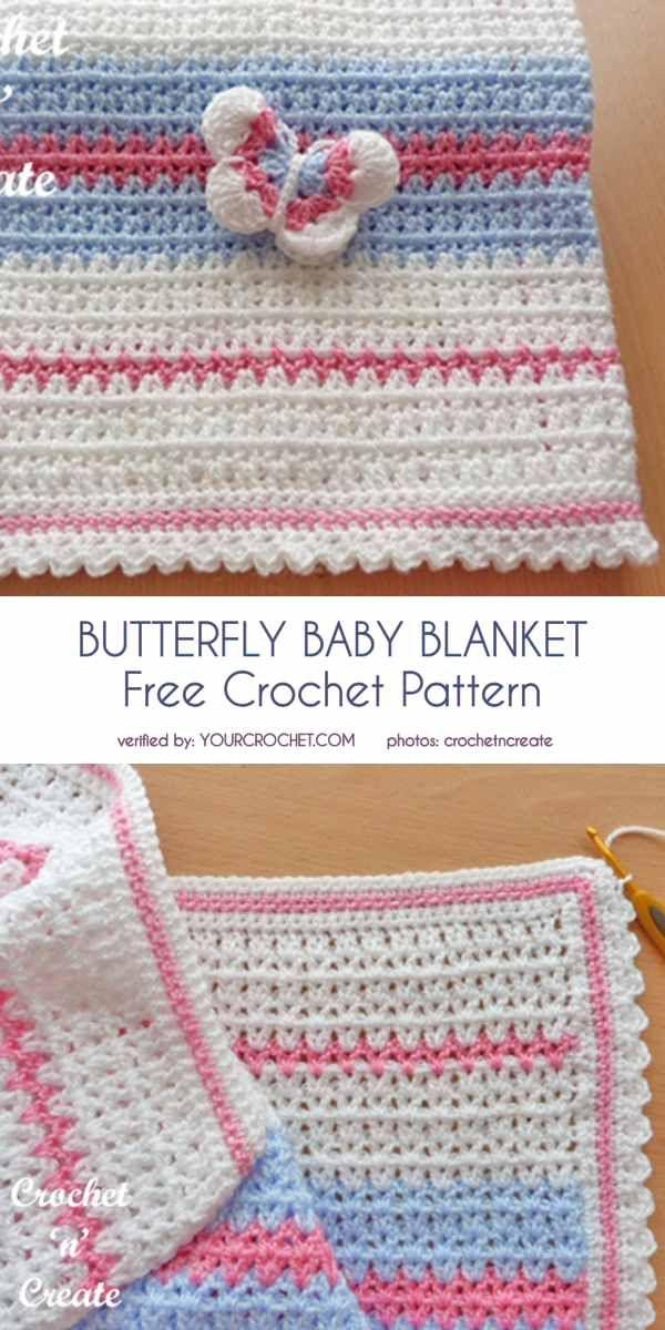 Butterfly Baby Blanket Free Crochet Pattern | Baby blanket ...