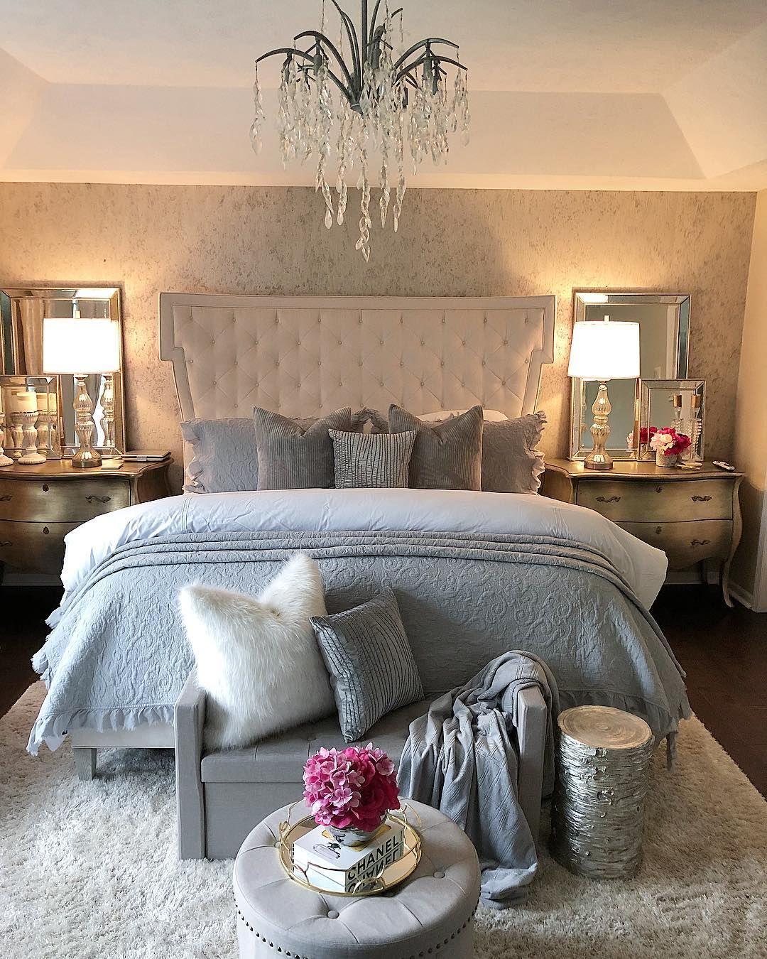 Luxury Bedroom Decor Ideas Gray Mirrored Furniture Modern