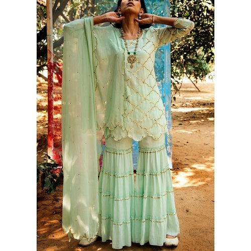 Samyuta Green Sequined Short Kurta With Tiered Sharara and Dupatta #shararadesigns