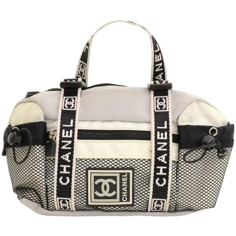 Chanel Sports Line Gray x White Canvas Waist Pouch Bag | 1stdibs.com