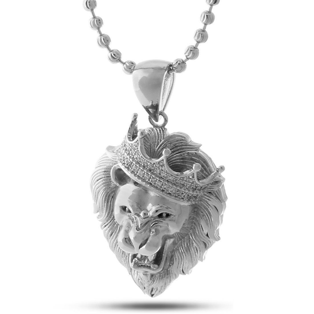 3b761dc7534a7 King Ice Silver Large Roaring Lion CZ Necklace in 2019 | bling ...