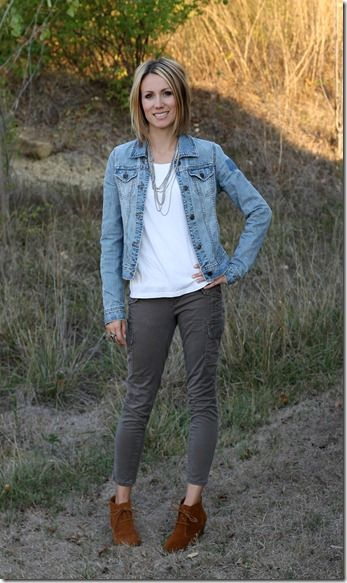 b570b35fb jean jacket, statement necklace, cropped pants, ankle boots | *what ...