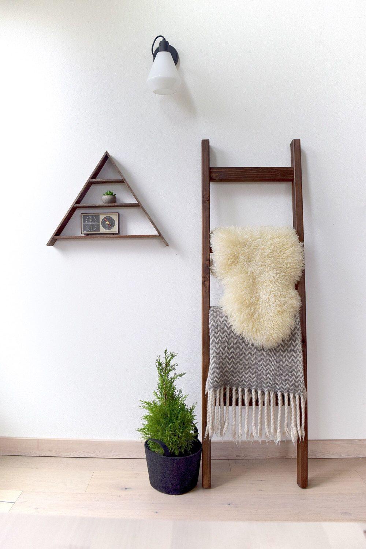 Blanket ladder rustic wood quilt ladder dark walnut brown