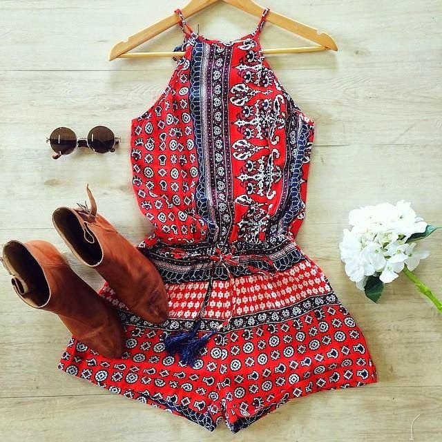 How to Chic: BOHO ROMPER - RED