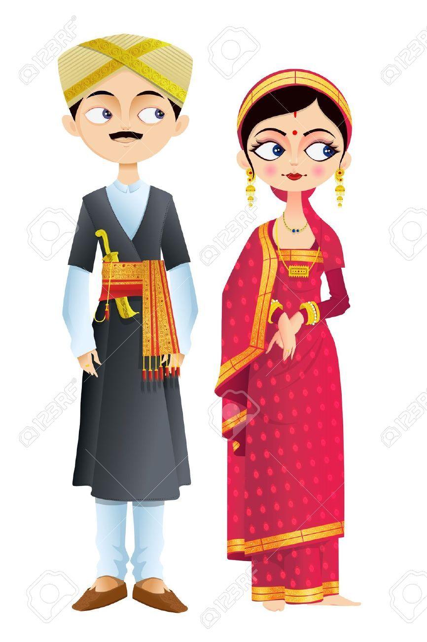 19313343-Wedding-Couple-of-Karnataka-Stock-Vector-indian.jpg (866 ...