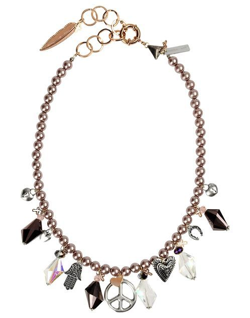 https://www.cityblis.com/4271/item/14431 | Art. HYP038 Graffiti Girl Necklace - $147 by Maiden-Art Boutique | Necklace made with silver plated brass, glass beads, crystals and charms. Hand varnished, hypoallergenic and hand made in Italy. Collana realizzata in bronzo bagnato nell'argento, perle in vetro, cristalli e pendenti. Realizzata a mano in Italia e nickel free. | #Necklaces