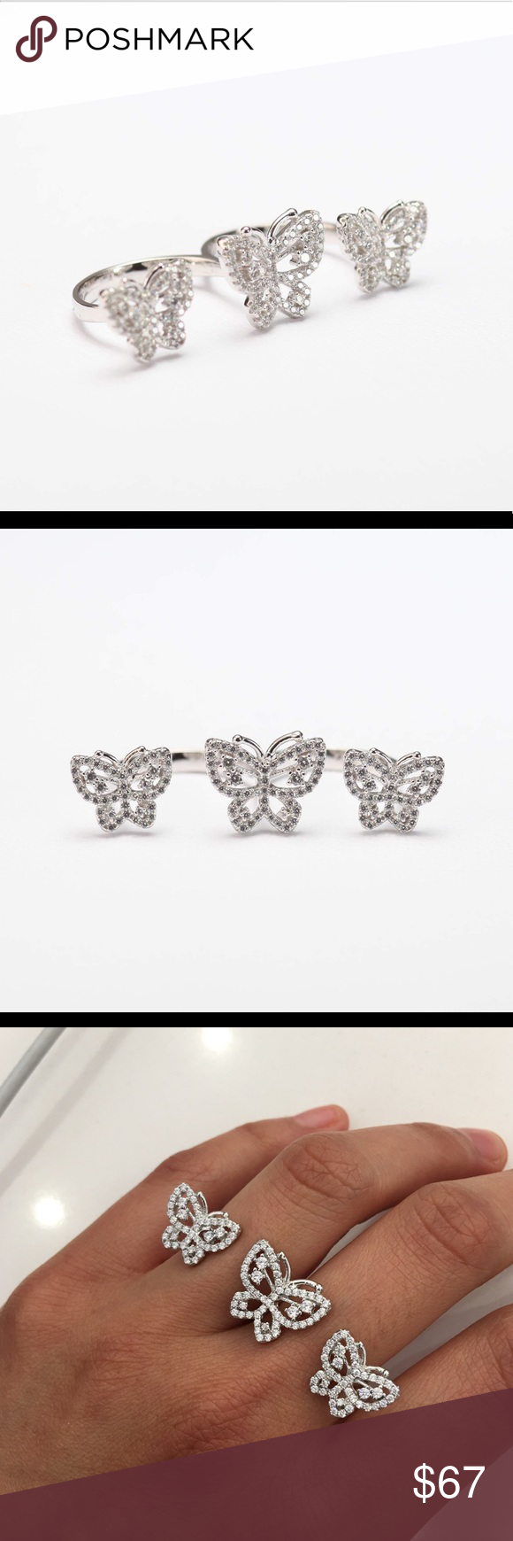 Sterling Silver Two Finger Butterflies Ring CZ Metal: 925 Sterling Silver. Stones:Cubic Zirconia Size: Resizable 6-9 Jewelry Rings