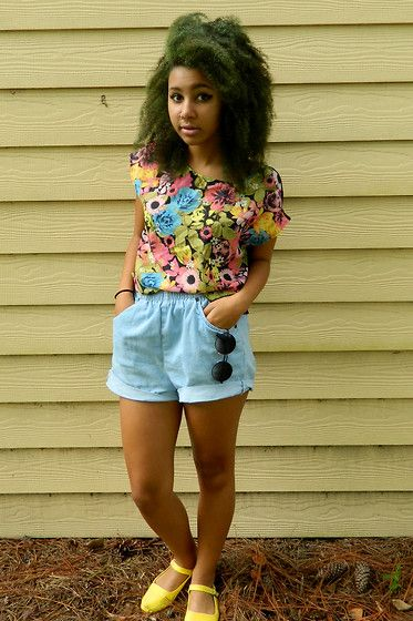 H&M Floral Shirt, Thrift High Waist Denim Shorts, Forever 21 Circle Lense Glasses, Urban Outfitters Yellow Shoes