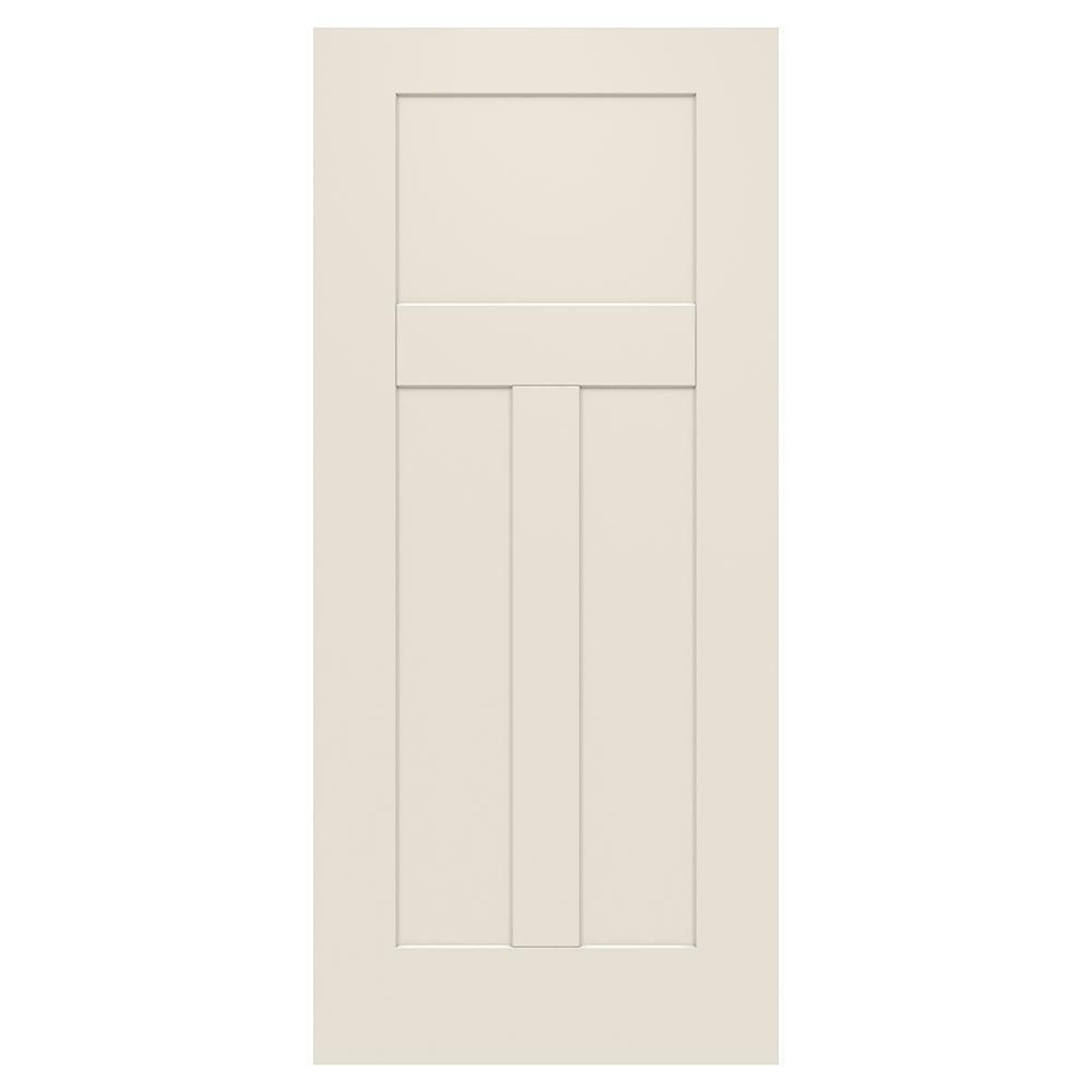 Jeld Wen 34 In X 79 In 3 Panel Craftsman Primed Steel Front Door Slab Exterior Doors Exterior Front Doors Doors