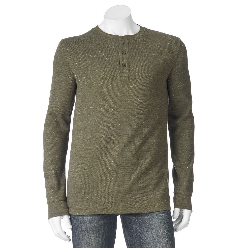 Big & Tall SONOMA Goods for Life™ Heathered Thermal Henley, Men's, Size: Xl Tall, Dark Green