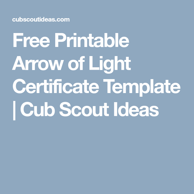 Free Printable Arrow Of Light Certificate Template Certificate