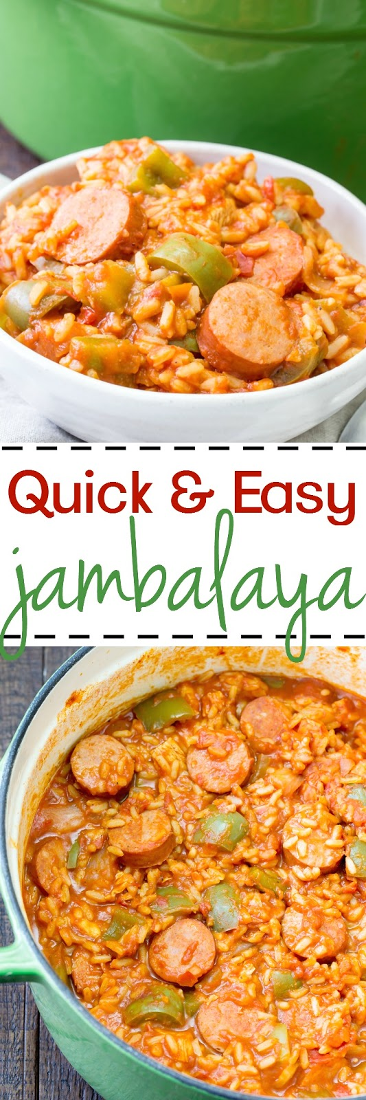 This easy one pot jambalaya comes together quick and is a classic Louisiana dish full of flavor with chicken, sausage, rice and the right amount of spice!  Perfect for Mardi Gras.