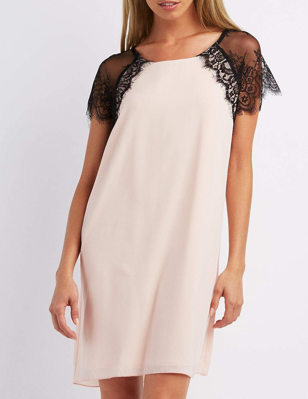 Lace Sleeve Shift Dress | Charlotte Russe | Homecoming Dress Ideas ...