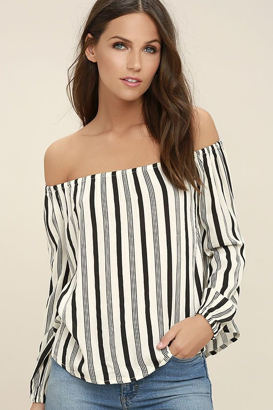 690166083d39d8 We re utterly infatuated with the Billabong Mi Amore Black and White  Striped Off-the-Shoulder Top! This breezy woven top features a striped  print across an ...