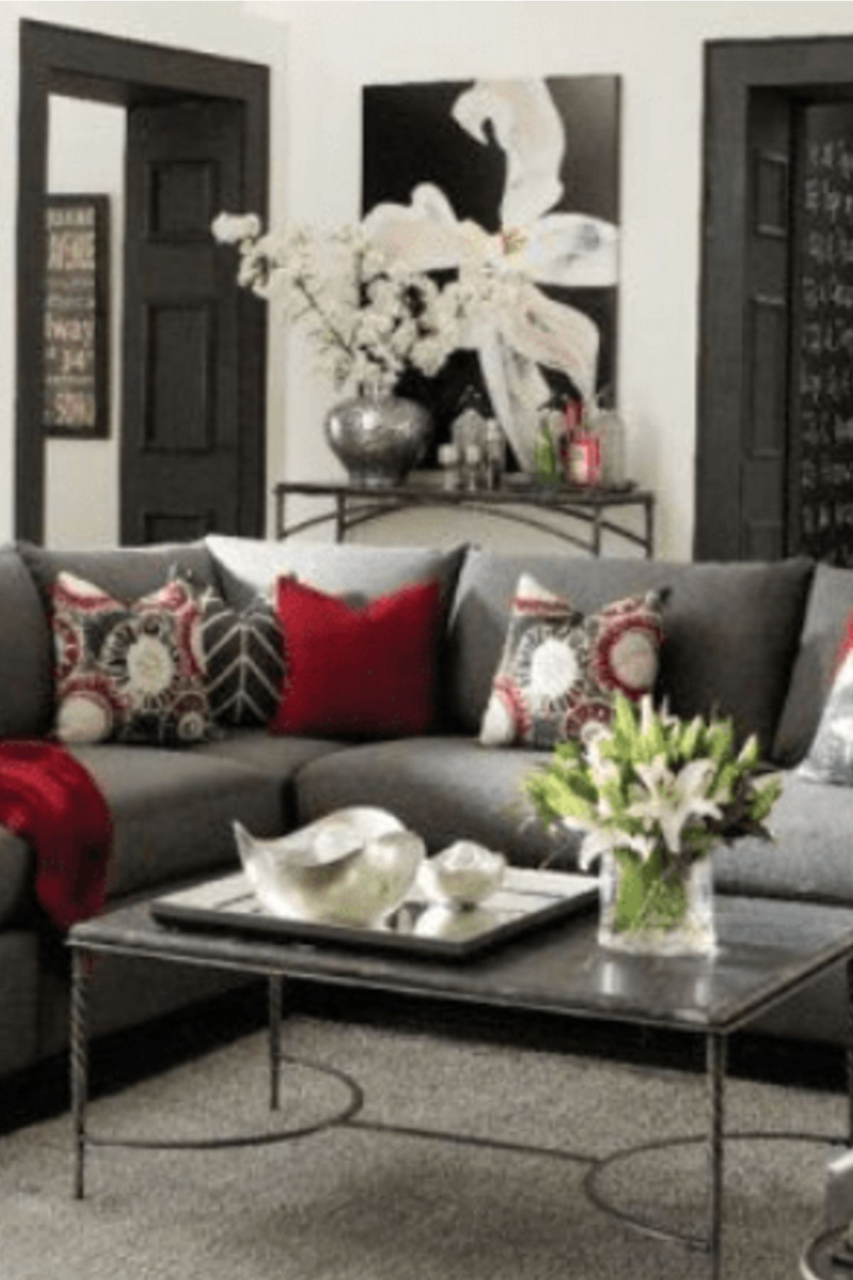 Home Decor Gray Living Room Ideas Grey Living Room With Red Accents Homedecor Livingroomde Living Room Decor Gray Red Living Room Decor Living Room Grey