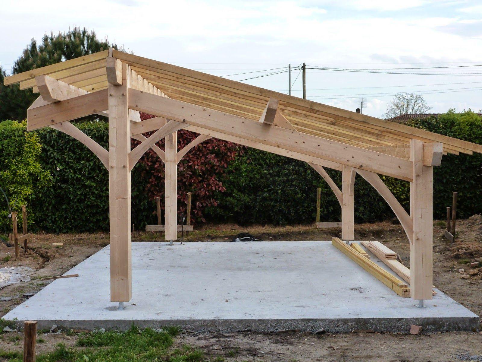 Auvent terrasse SHERWOOD Carport bois de 5mx3
