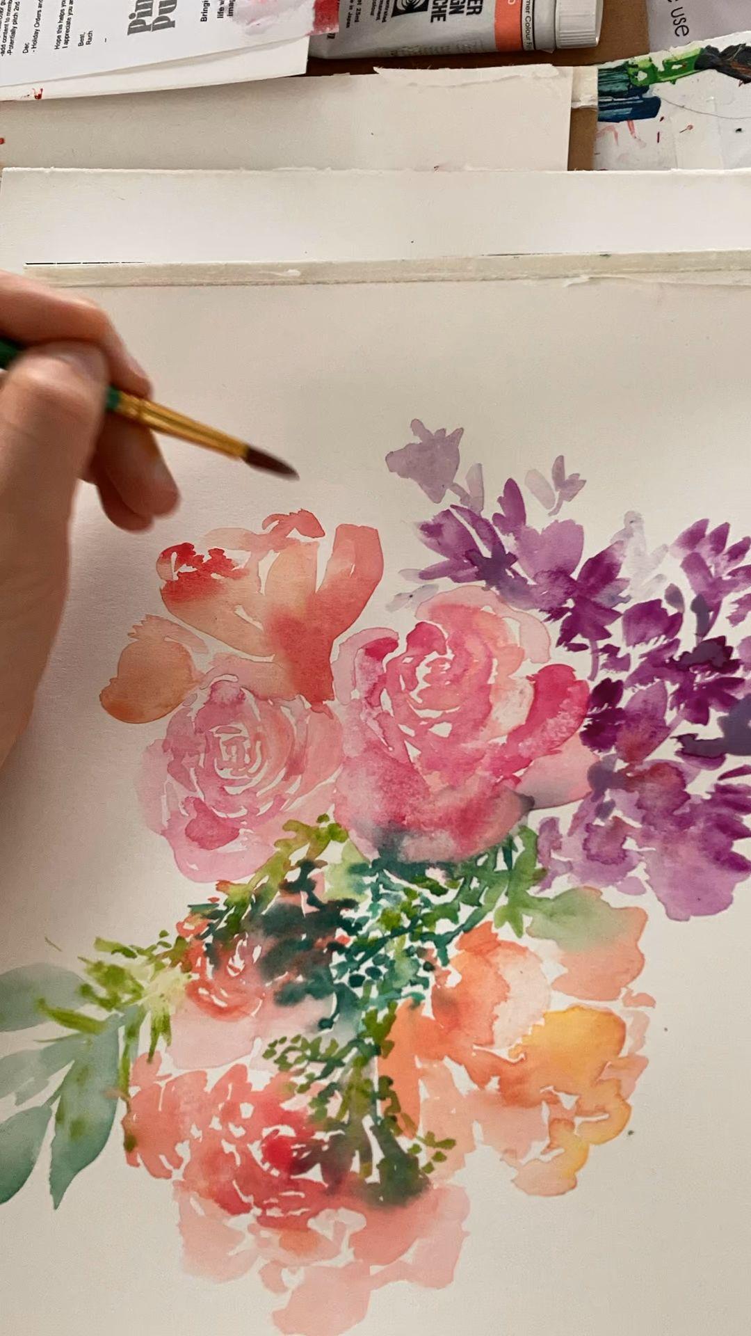 Watercolor Roses Painting Flowers