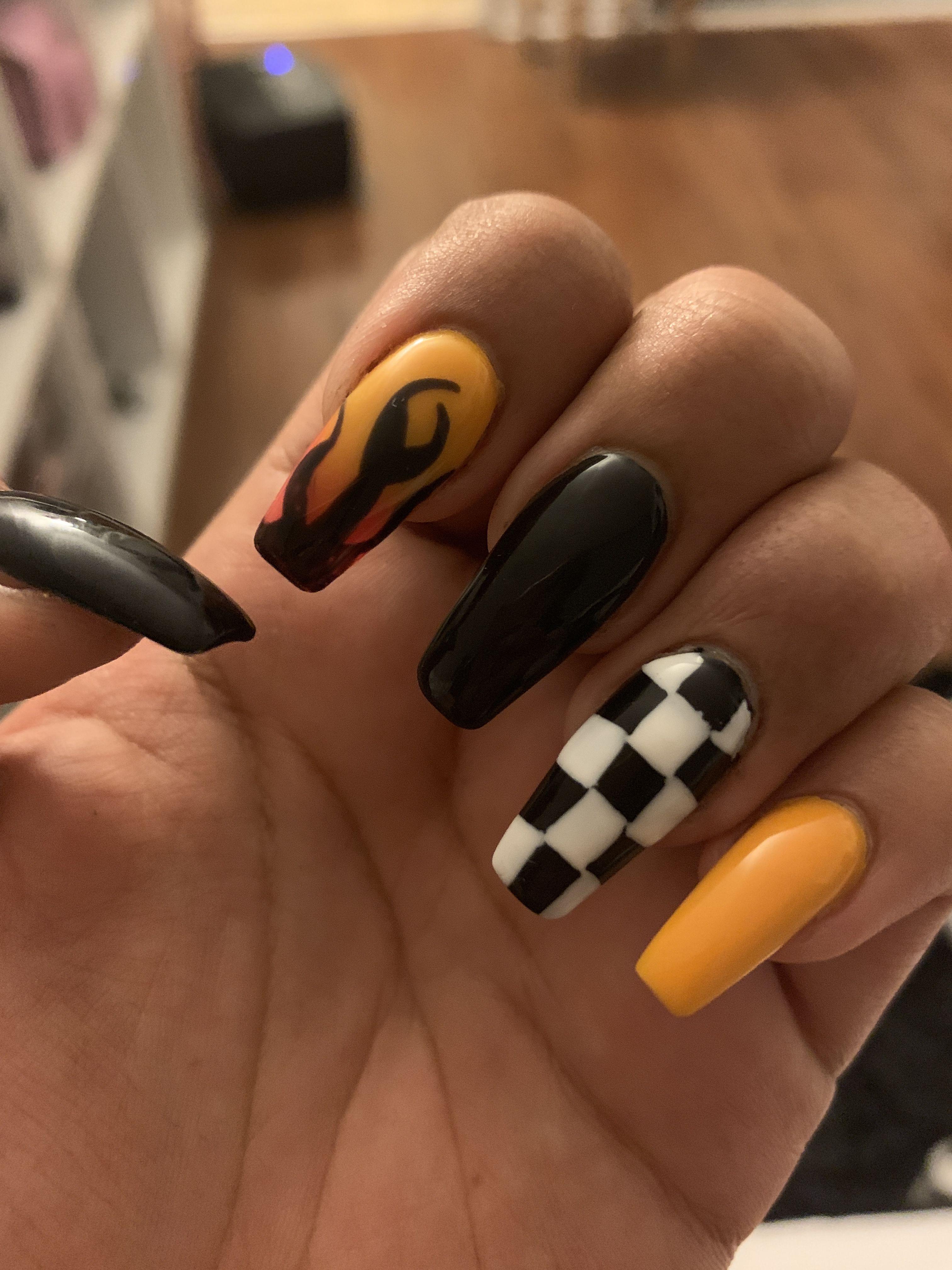 Pin Fabxiety ʖ Checkered Nails Dream Nails Fire Nails