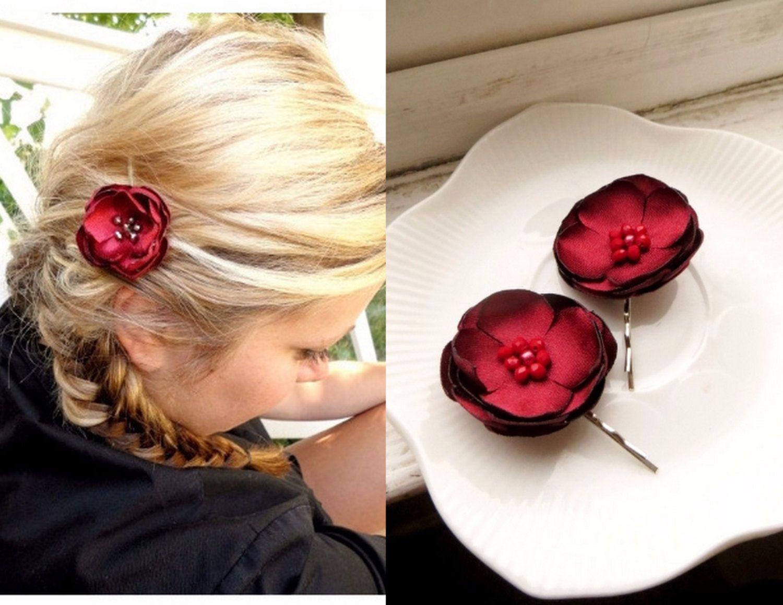 Mini Red Satin Rosette Hair Clamp Clips