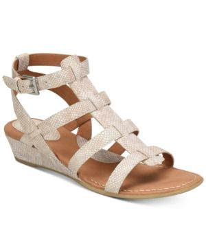 b.o.c. Heidi Snake-Embossed Sandals - Tan/Beige 10M