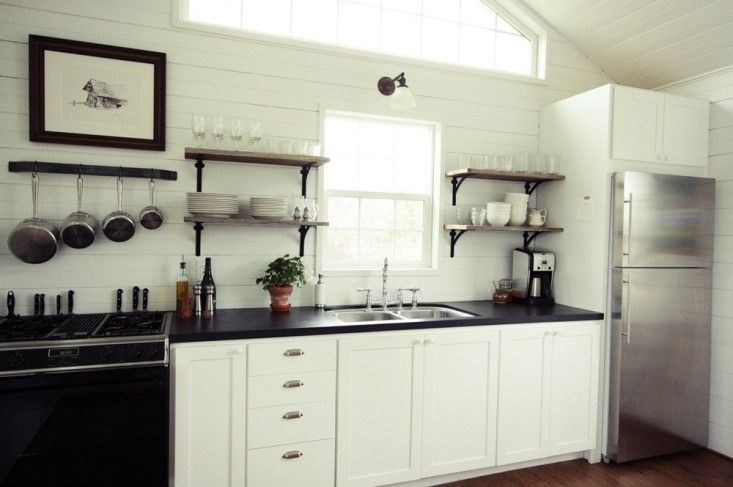 Small Space Living A Low Cost Cabin Kitchen For A Family Of Five Remodelista Small Space Kitchen Kitchen Decor Hacks Open Kitchen Shelves