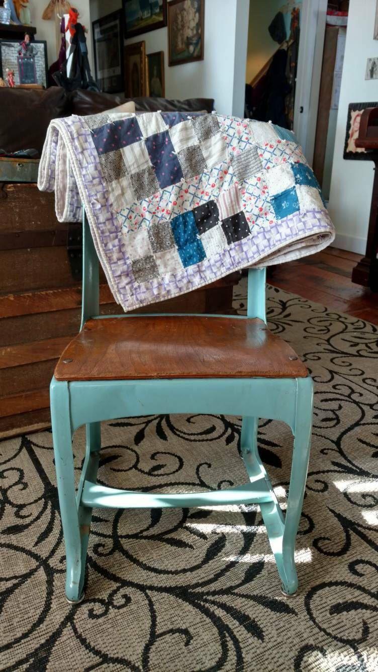 Industrial Antique School Desk Chair   Vintage Wood + Metal Robins Egg Blue  Chair, Sturdy Chair, Retro Playroom Or Bedroom Or Nursery Decor