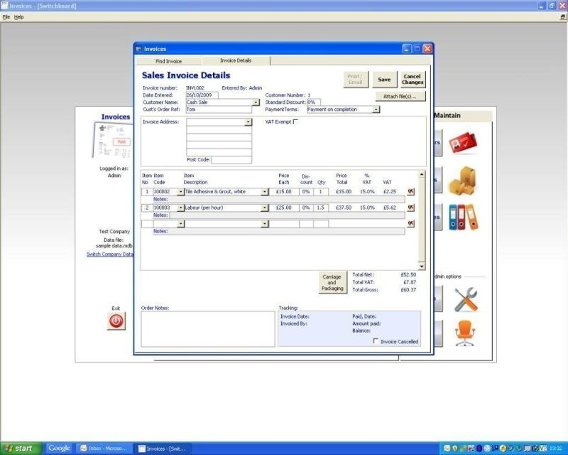 Invoices Starter Edition - MS Access Invoice Database ***New - professional invoices