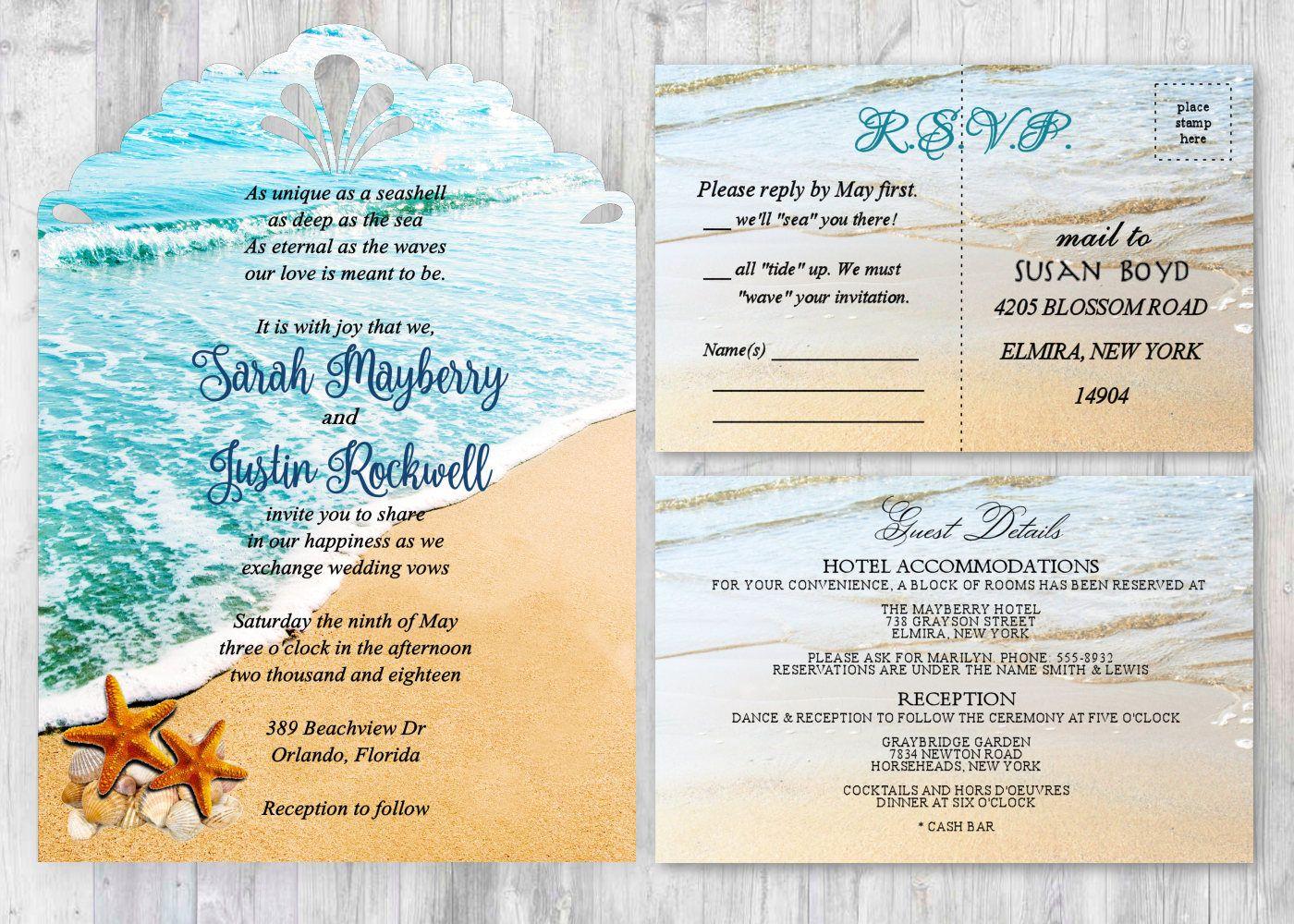 Starfish Beach Wedding Invitations Ocean Wedding Invitation